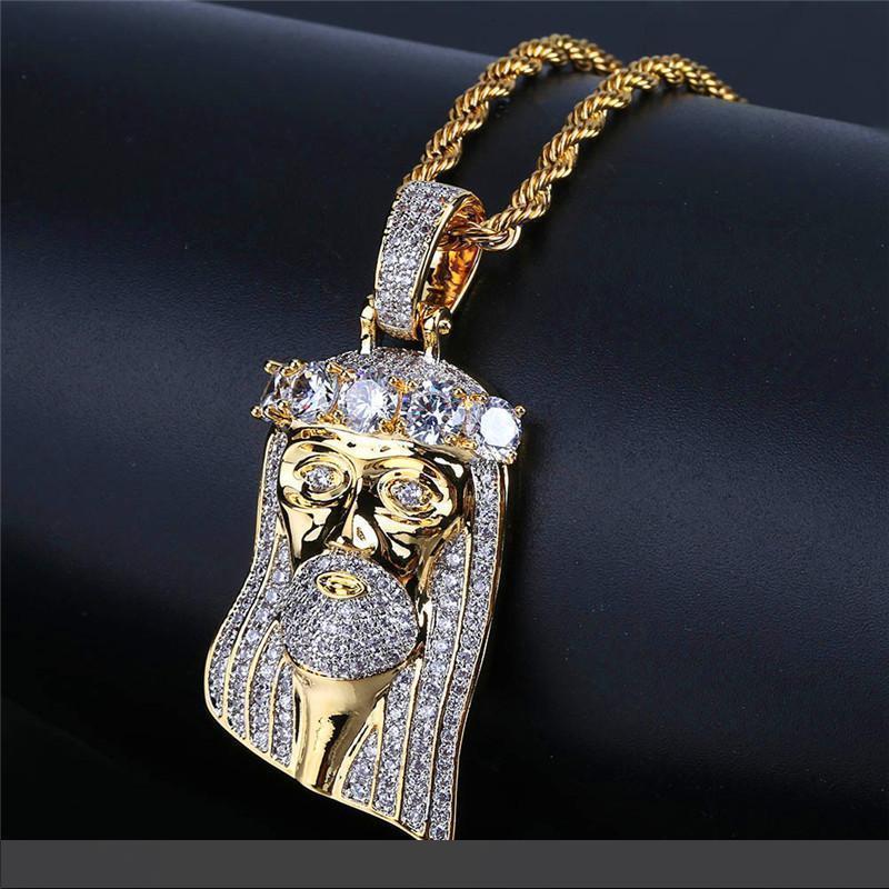 Yeni Geliş Moda Hiphop İsa kolye İçin Erkekler Lüks Taşlı 18K altın kaplama Hiphop kolye kolyeler