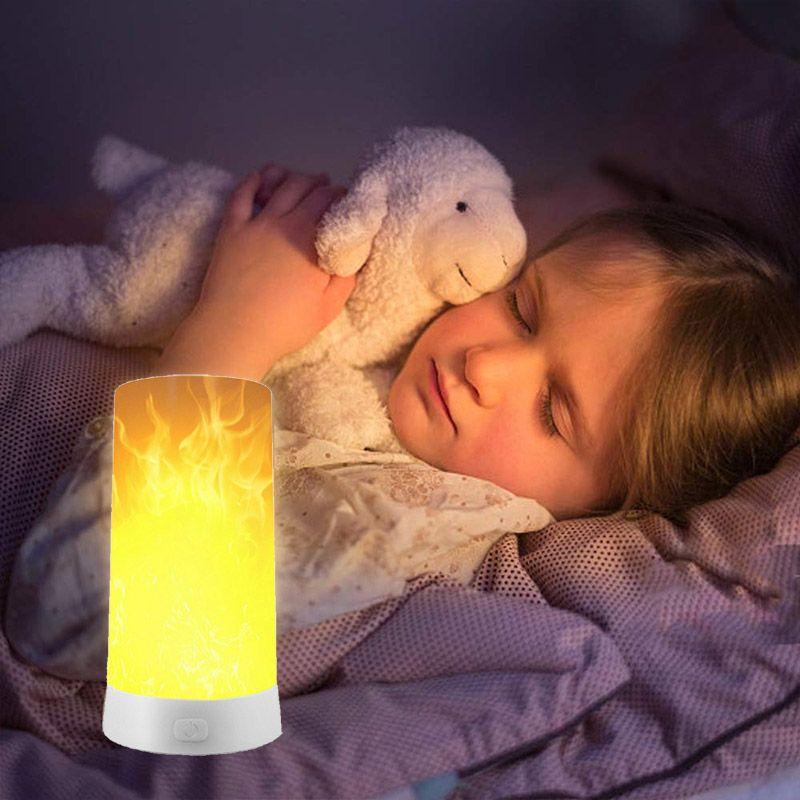 LED شعلة ضوء تأثير USB قابلة لإعادة الشحن الشعلة مصباح الطاولة، مقاوم للماء الشعلة الخفيفة مع المغناطيسي NEW قاعدة