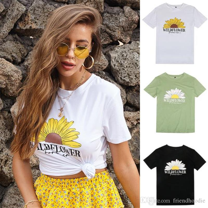 Manica corta estate floreale Womens magliette o collo fiore stampato signore T casuali parti superiori allentate femminili