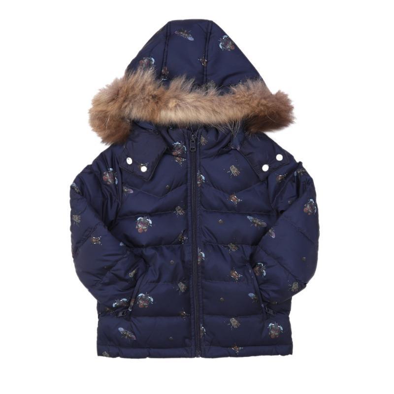Vestiti del bambino 2-10Y bambini Giaccone Warm bambini velluto cotone Giù cappotto del bambino delle ragazze dei ragazzi a maniche lunghe Stampa Outerwear
