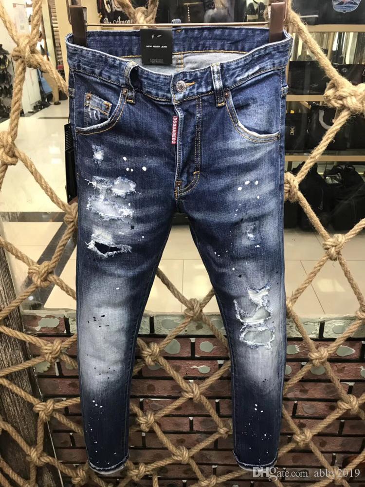 Moda Jeans magro dos homens calça casual elástica calças leves azul folgado de algodão denim Brand Jeans Masculino