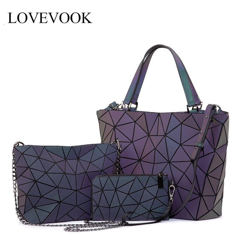 Lovevook Frauen Handtasche Luxuxschulter Beutel gesetzt Klapp Totes Umhängetasche weibliches Portemonnaie für Damen Leucht geometrisch Y191014
