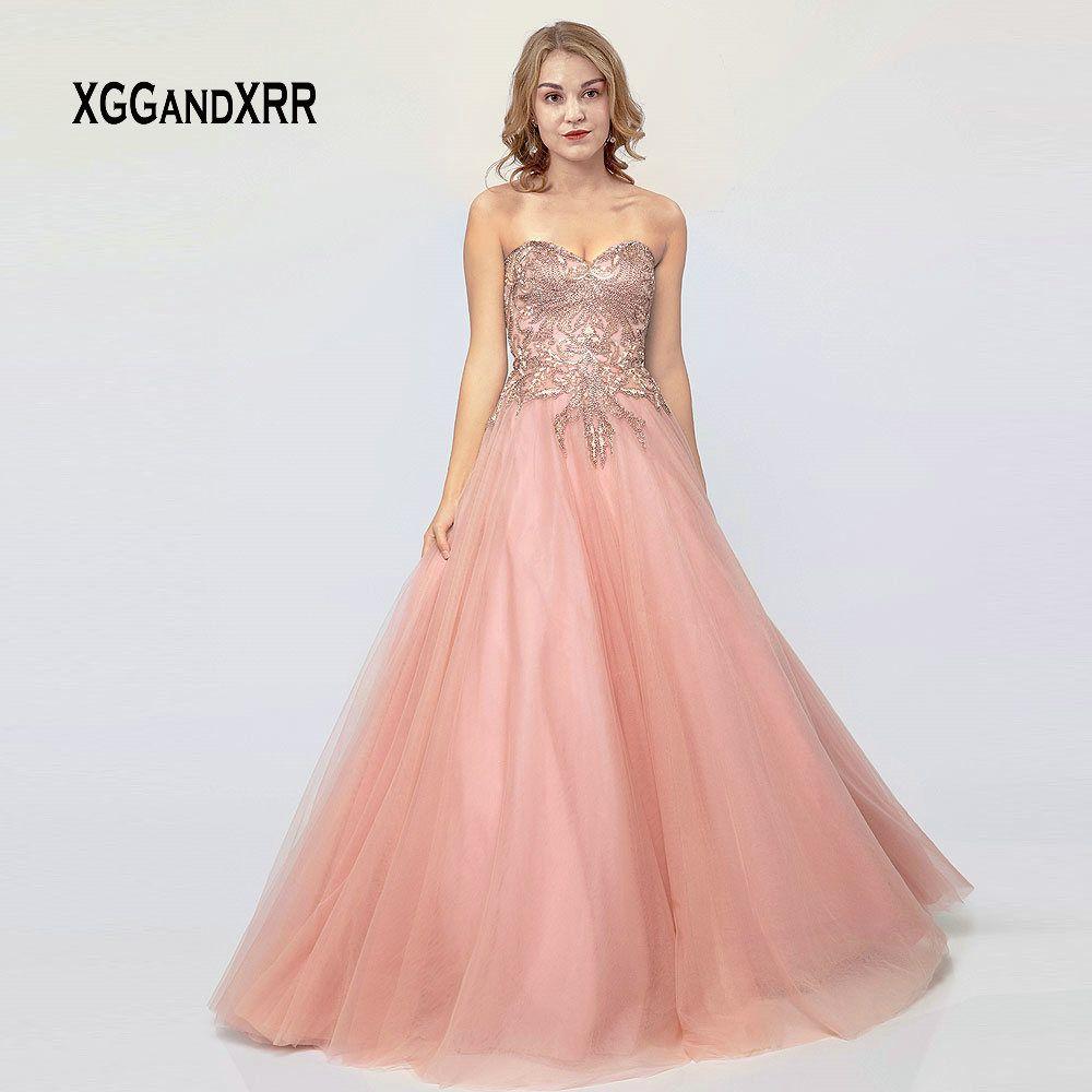 Großhandel Luxus Rosa Abendkleid 8 Langes Abendkleid Tüll Perlen  Pailletten Abschlusskleid Schatz Schulterfrei Frau Flauschigen Kleid Von