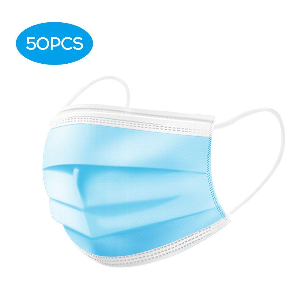 Розовый синий три слоя пятна одноразовые защитные маски анти-брызг пыли-доказательство дышащий для взрослых расплава-взорван номера-сплетенный лицевой щиток гермошлема ткани 50/коробка
