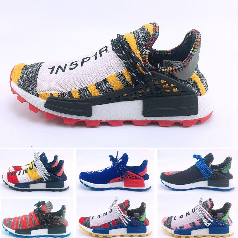 2019 Großhandel Pharrell Williams Menschliche Rasse Holi MC Solar Pack Sneaker Männer Frauen Liebhaber Running Fashion Sportschuhe Size36-47