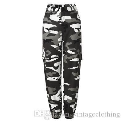 Kadınlar Kamuflaj Pantolon Moda Sıcak Satış Gevşek Kadın Casual Kargo Streetwear Tam Boy Prnt Sokak pantolonları S-3XL