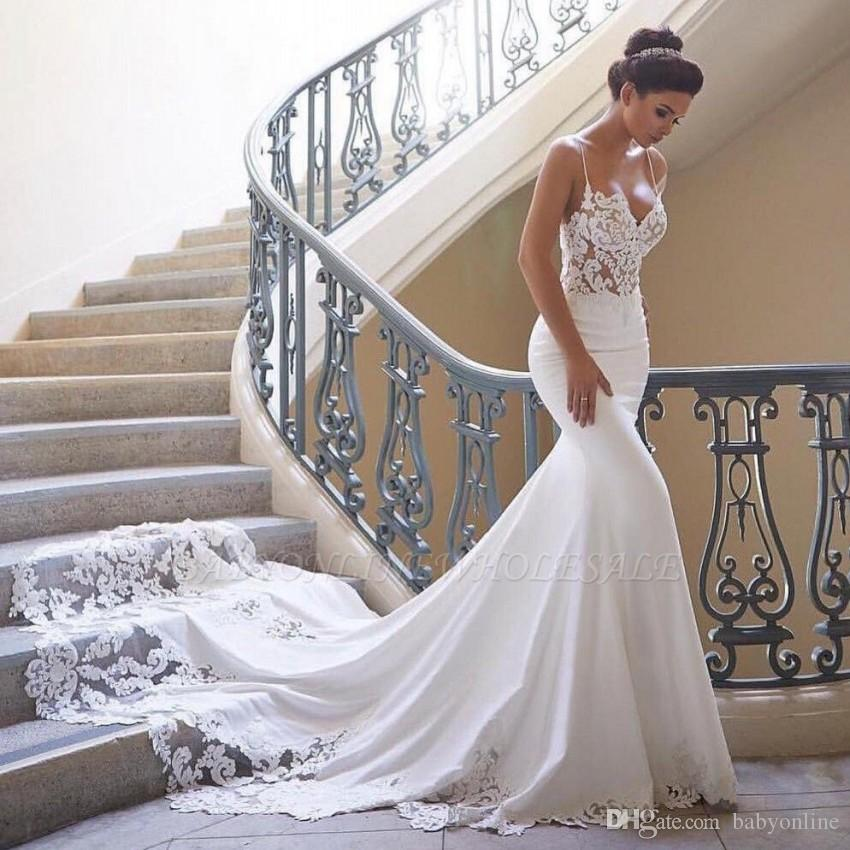 Modern Mermaid Lace Wedding Dresses Illusion Sexy Spaghetti Strap vestido de noiva Lace Appliques Slim Formal Bridal Gowns Plus Size