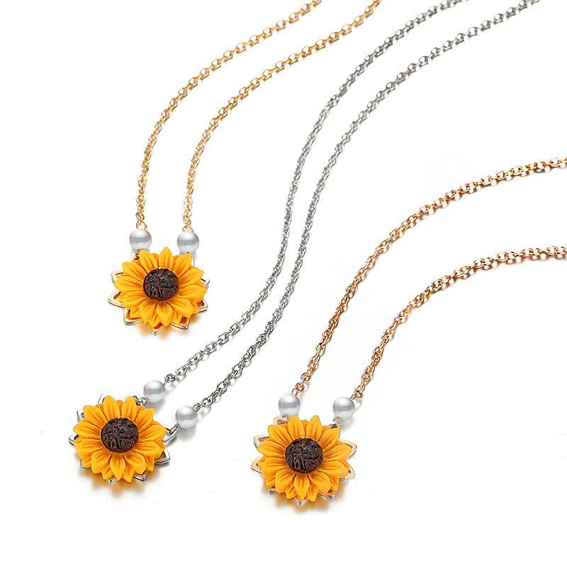 İmitasyon İnci Ayçiçeği Kolye Kadın Giyim Aksesuarları Için 3 Renkler Güneş Çiçek Kolye Kolye Düğün Takı