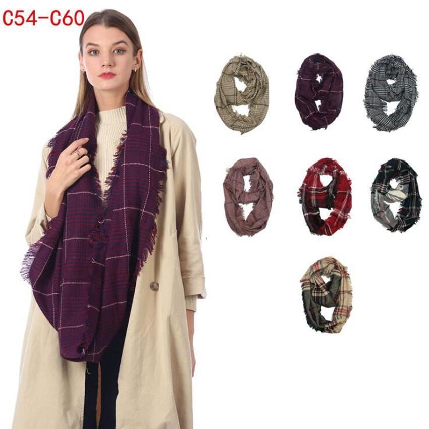 Plaid Infinito lenço 7 cores 40 * 85 centímetros Grade Inverno Verifique Anel Scarf quente ao ar livre loop Wraps Gravatas LJJO7152