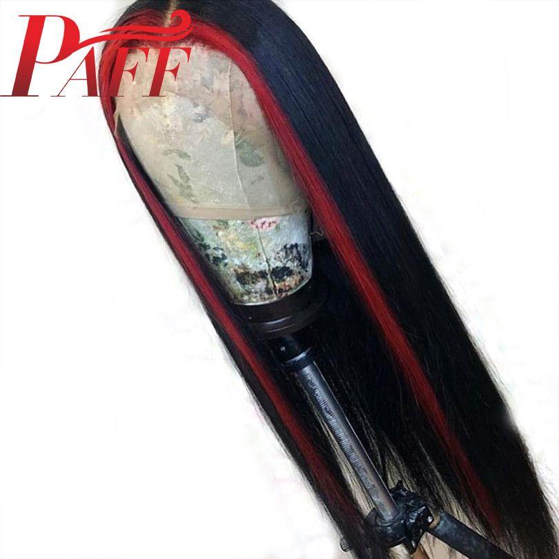PAFF Vurgulamak Kırmızı Renk Dantel Ön İnsan Saç Peruk İpeksi Düz Remy Brezilyalı Saç Peruk Tutkalsız Ön Bebek Saç Ile Koparıp