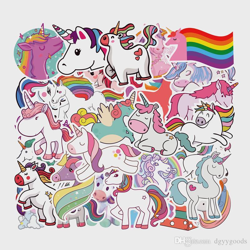 50 piezas del unicornio pegatinas de dibujos animados de la bandera nacional de la luz animal de DIY impermeable etiqueta para equipaje para bicicleta Adhesivos de USAnotebook de coches