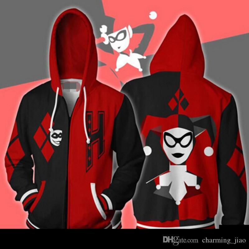 2018 새로운 폭발 공포 광대 붉은 자살 팀 할리 퀸 3D 인쇄 카디건 지퍼 재킷 주위에 애니메이션