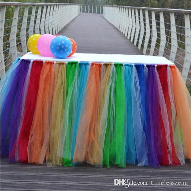 38 الألوان تول توتو الجدول التنورة حصول على حفل زفاف عيد الميلاد ديكور تسجيل الدخول-بوث الرباط الجدول تغطية DIY الحرفية منسوجات منزلية ديكورات