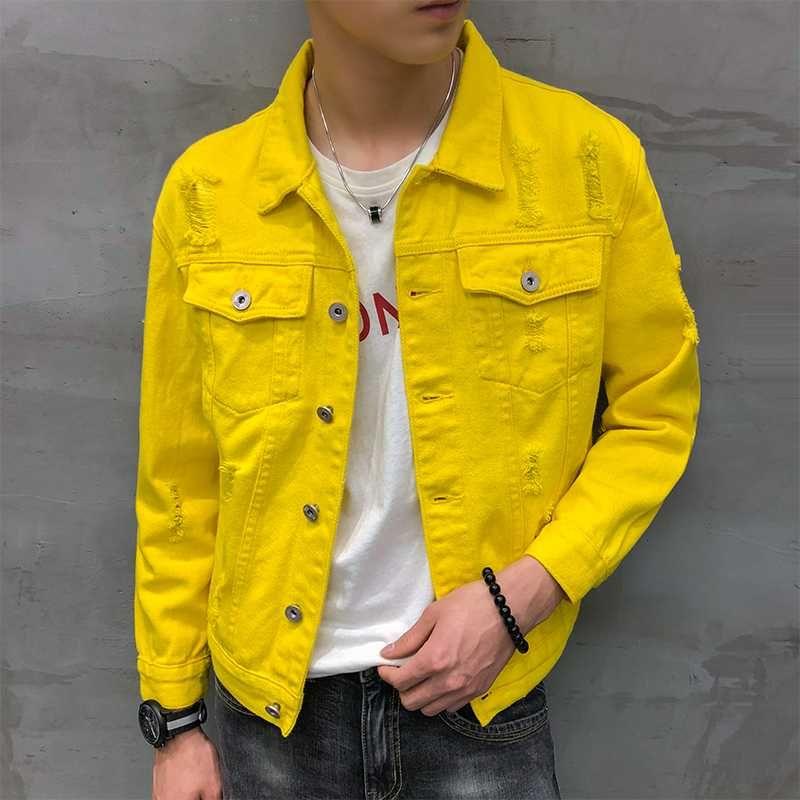 denim jacket men jaqueta masculino Korean stylish short coat male streetwear clothing hip hop hole ripped jeans jackets for men