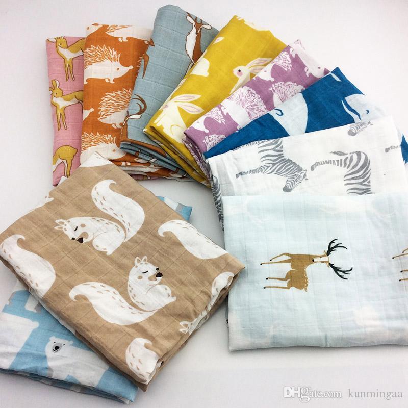 Manta nuevo algodón del bebé recién nacido Mantas suave bebé orgánico del algodón muselina de empañar Wrap Alimentación eructar toalla de tela de la bufanda Materia del bebé