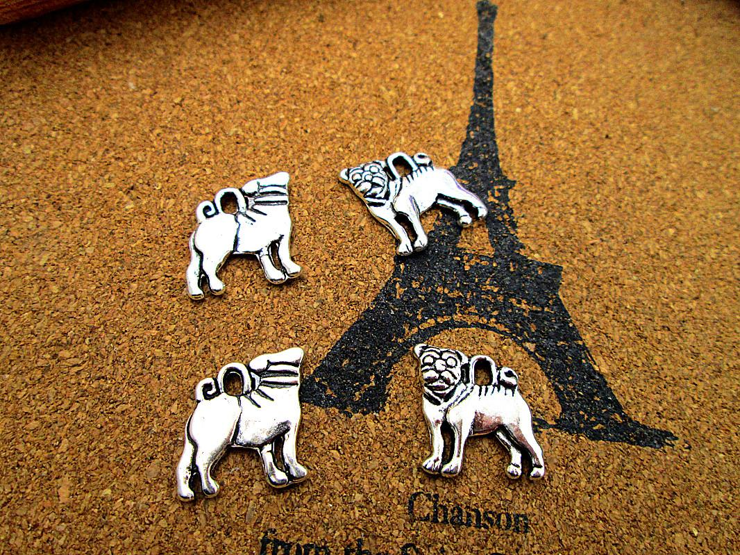 60pcs pug charms silver tone dog charm pendants 15x16mm