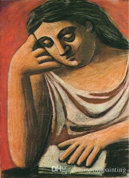 Pablo Picasso Peinture à l'huile classique Lecture La Lecture 100% à la main par Expérimenté Peintre Sur Toile blanche Picasso643