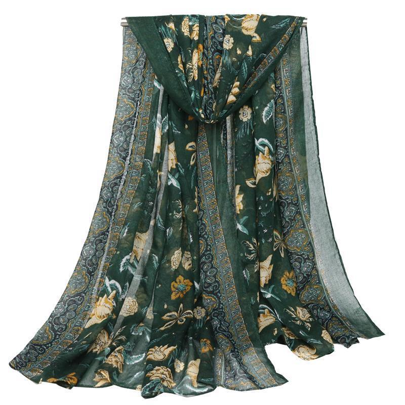 UACY марка высокого качества Вуаль С Цветочные печати Синий и белый фарфор Большой Длинный шарф шарфы пляжное полотенце T200615