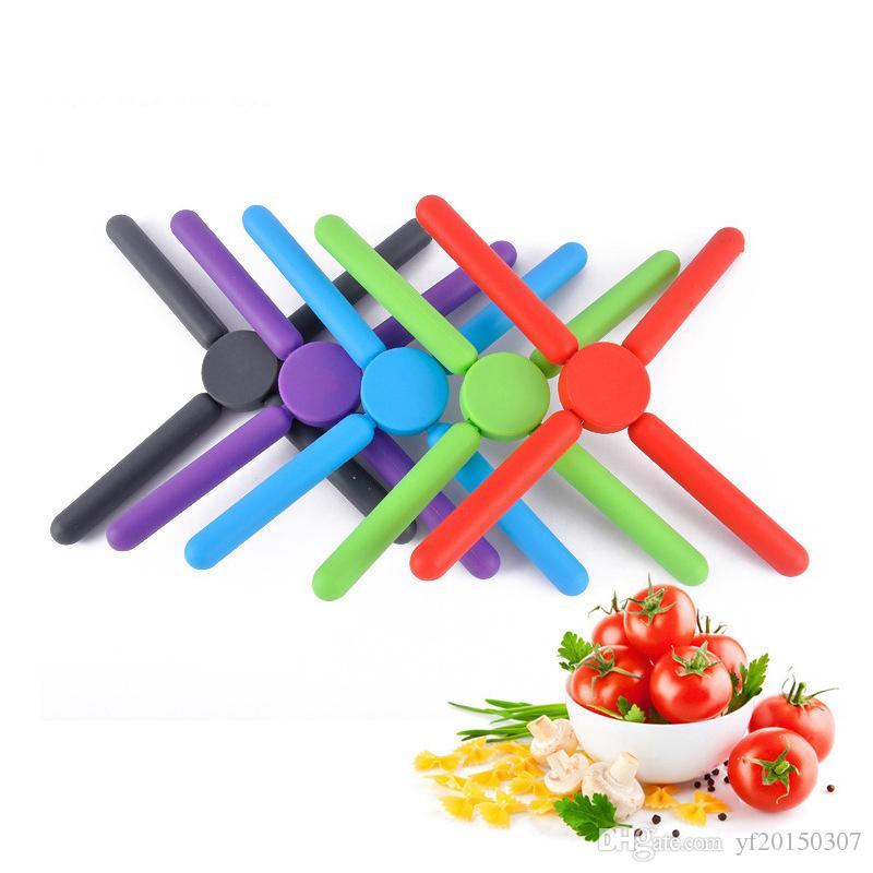 주방 접이식 냄비 패드 실리콘 Trivets 실리콘 냄비 홀더 Collapsible Pot Coasters