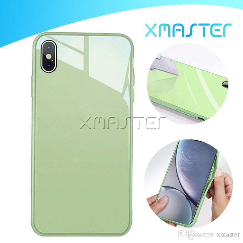 لمدة 11 فون برو XS ماكس XR X 7 زائد TPU زجاج الوقوع منع حالة ترف تصميم مقاومة للخدش الهواتف المحمولة شل غطاء xmaster