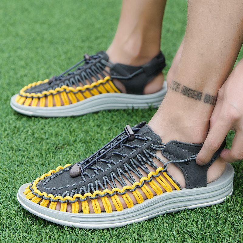 Di vendita calda sandali delle donne sandali tallone spesso per gli uomini da spiaggia all'aperto tessono sandalo Hollow scarpe casual scarpe di respirazione treccia stile sportivo zy397