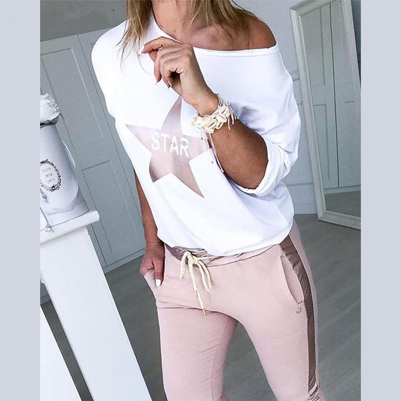 Mulheres sexy do ombro Treino define Lady Boat Anchor Imprimir encabeça Two Piece Set Feminino cintura elástica calças compridas Define T200528