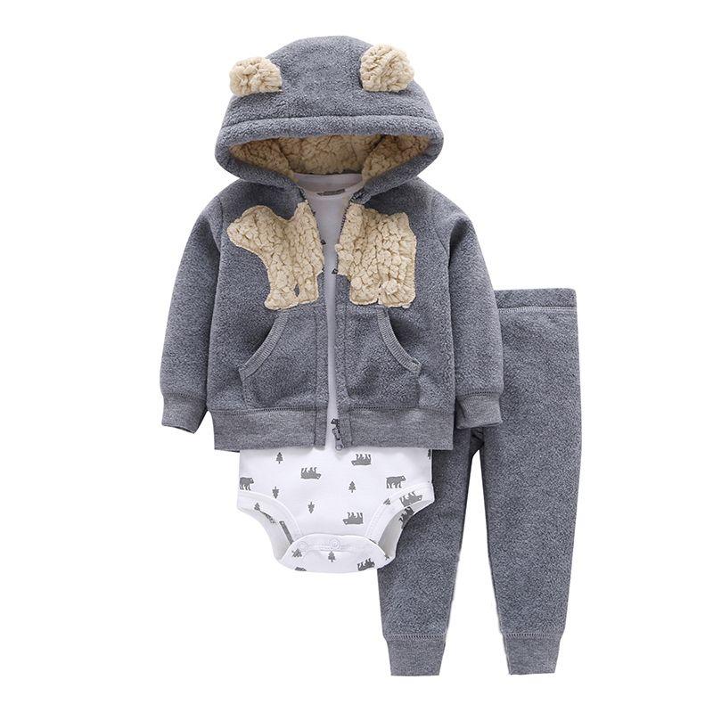Baby Kleidung Cartoon Fleece Jacke + Body + Hose Neugeborenen Set Mädchen Outfit Herbst Winter Anzug Säuglings Kleidung Mode Kostüm Q190521