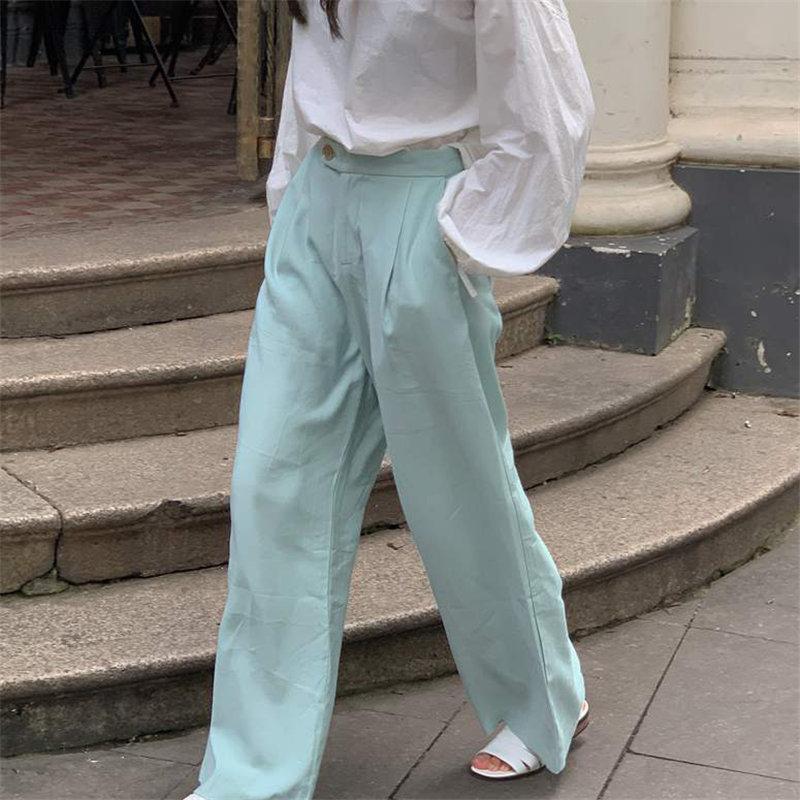 HziriP menta verde pierna ancha pantalones de ocio 2020 Streetwear elegante recto de gran tamaño sólido ocasional pantalones flojos de alta calidad