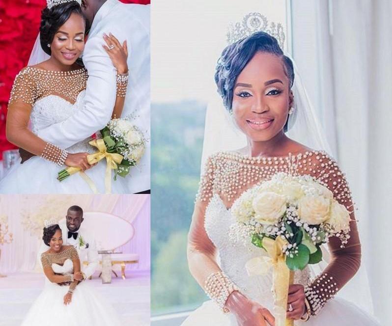 2020 Perles élégante Une ligne robe de mariée africaine à encolure bateau Tulle balayage train fille noire Plus Size robe de mariée mariage