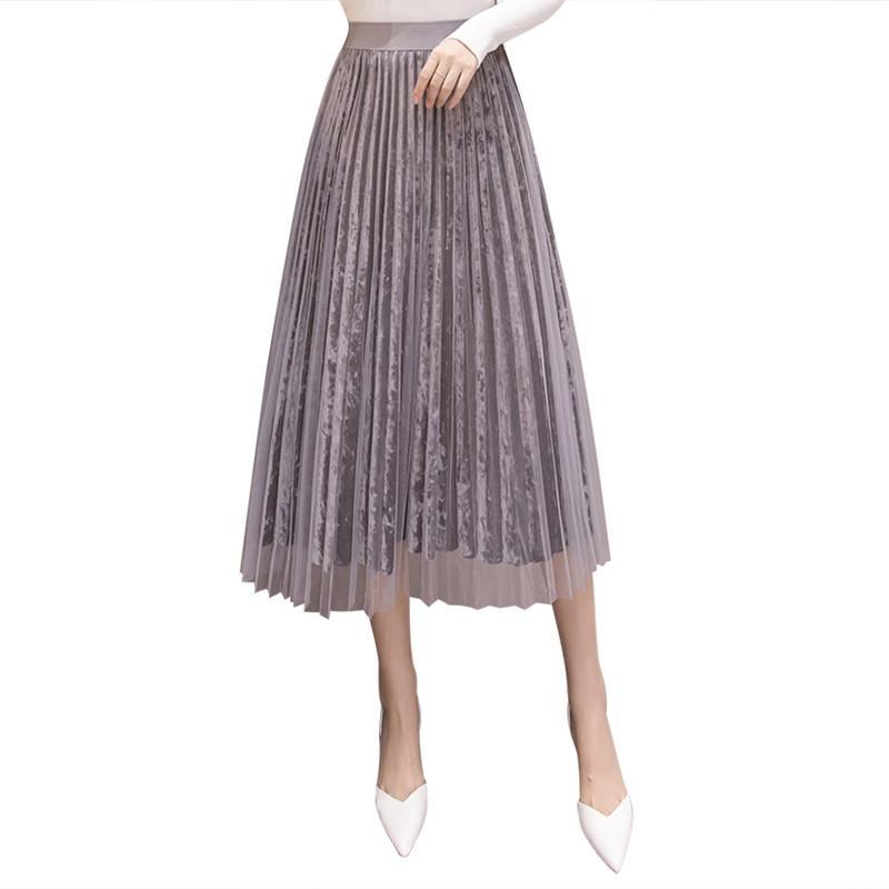 Réversible Tulle Jupe en velours Femmes Mode 2020 long Printemps élégant pois Jupe taille haute Femme Midi Casual plissés