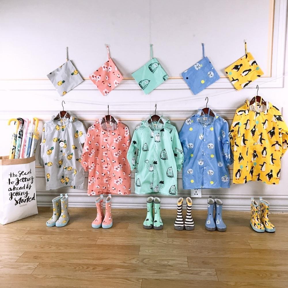 Celveroso nuevos niños de dibujos animados impermeable capa de lluvia de poliéster niños ropa de moda impermeable niños bebé niñas chaqueta abrigo Rainsut SH190910