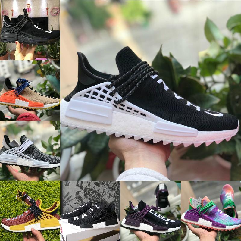 Горячие продажи Pharrell Williams NMD Human Race Shoes кроссовки равенство ботан черный Нобель чернила Человеческие расы Мужская обувь женщины дизайнеры кроссовки