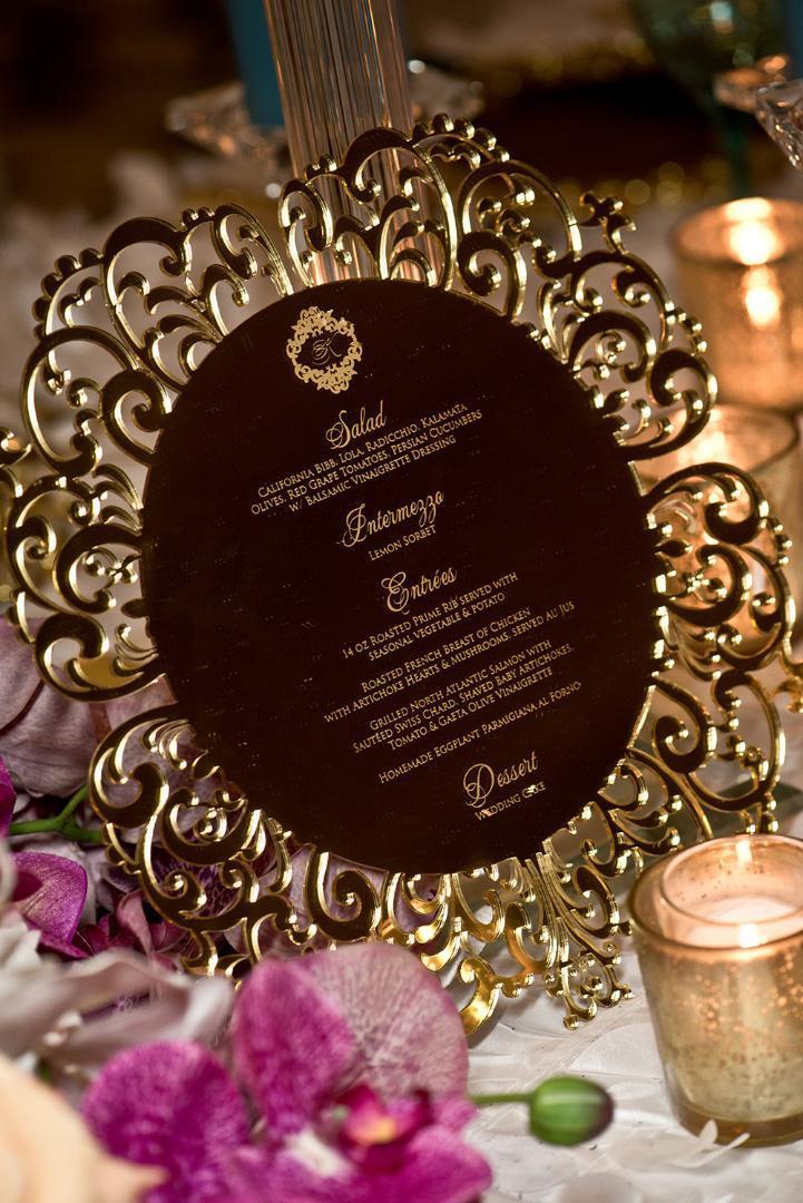 Ayna Altın düğün menüsü, Lazer Kesim Modern Stil Düğün davetiyesi, Konuklar için kişiselleştir menüsü, Ayna altın masa menüsü