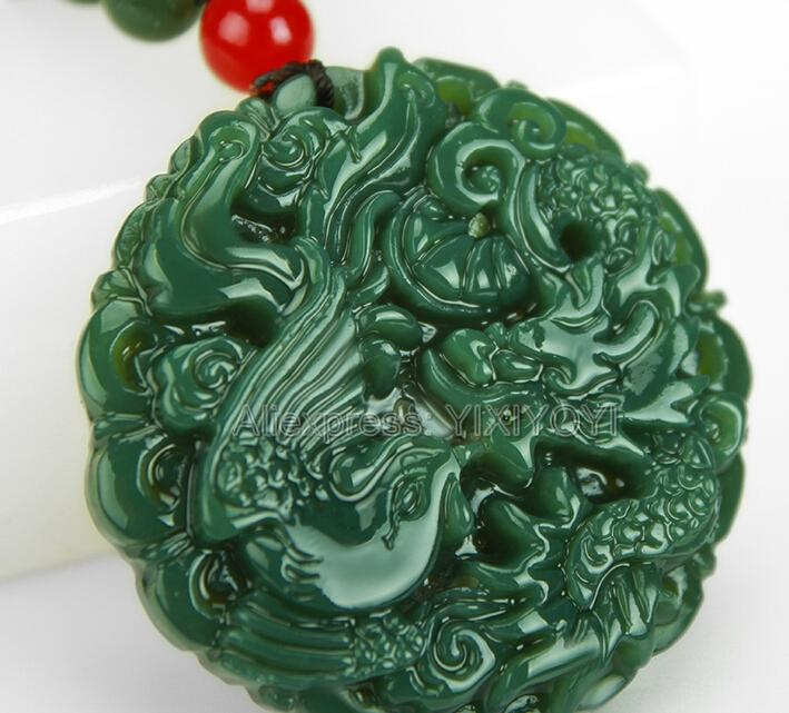Bella verde naturale della giada di Hetian intagliato cinese Dragon Phoenix Amuleto fortunato ciondolo + collana libero Certificato Fine Jewelry