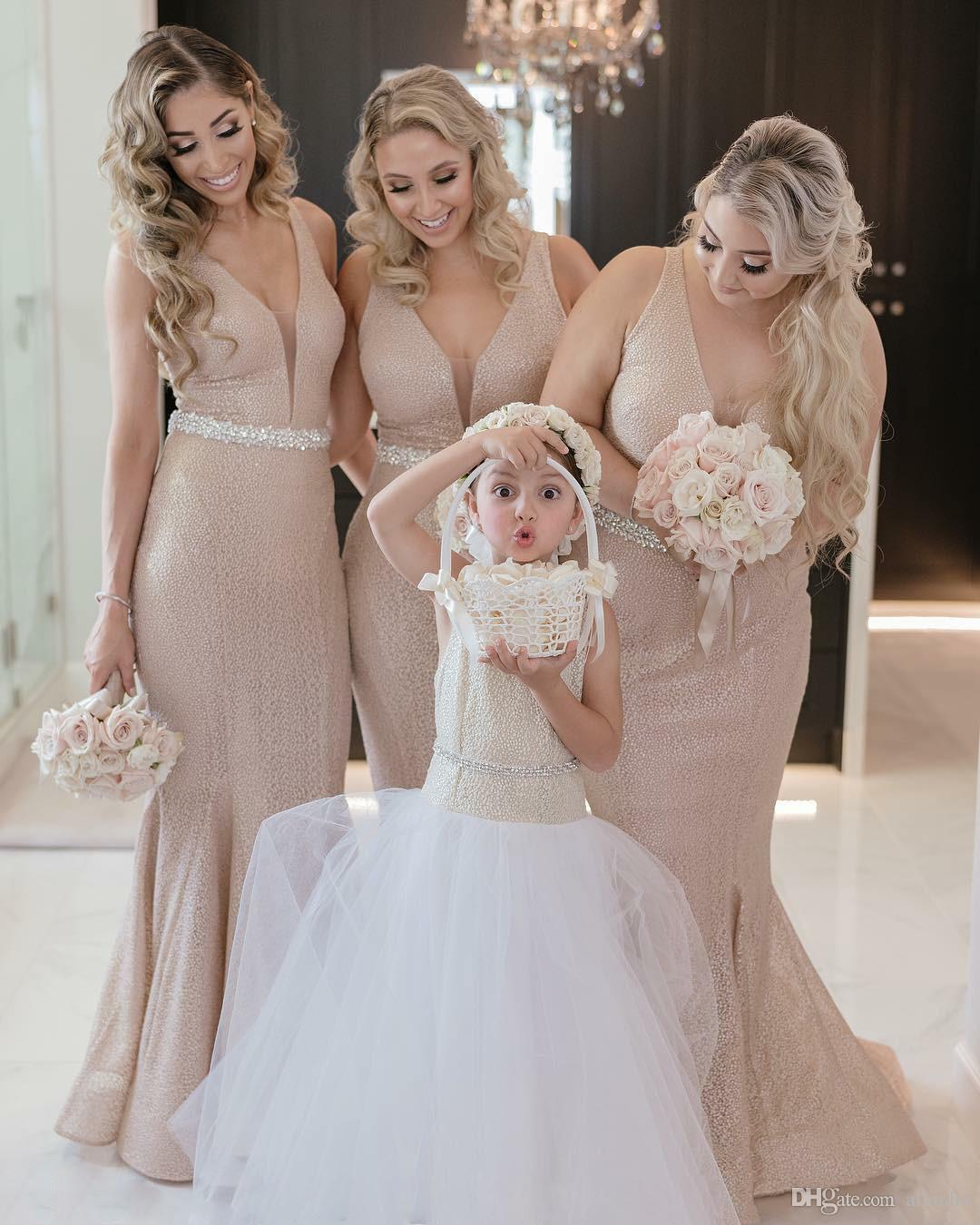 2019 New Fashion Rose Gold Mermaid Bridesmaid Dresses V Neck Sequined Beads Sashes Floor Length Bling Bling Formal Dress Maid Of Honor Dress