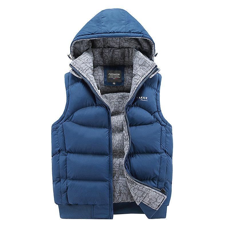Moda sin mangas de la chaqueta 2020 de los hombres espese el algodón Sombreros Chaleco con capucha caliente del chaleco del chaleco de invierno ocasional de los hombres rompevientos Streetwear