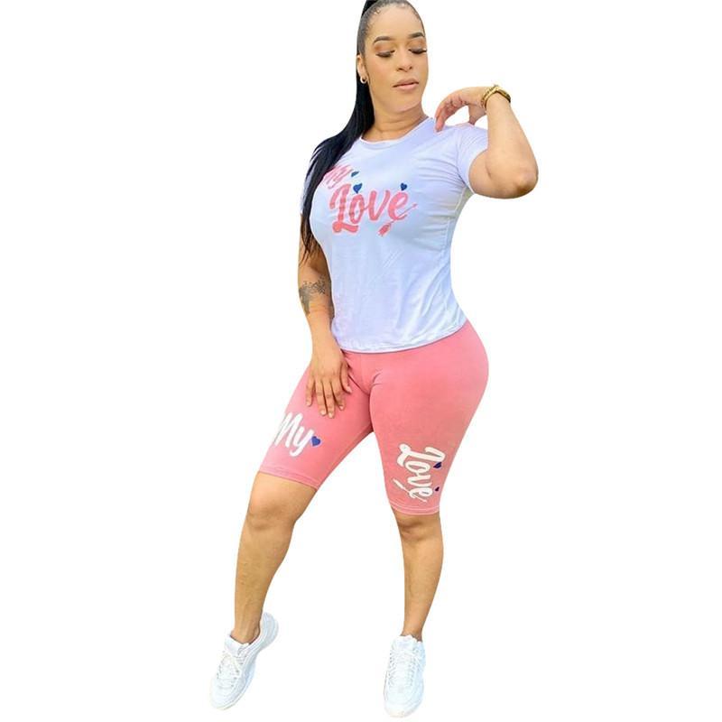 여성의 운동복 내 사랑 편지는 여름 팬티 세트 반팔 T 셔츠 + 자전거 반바지 바지 2 조각 복장 디자이너 운동복 D61508 인쇄하기