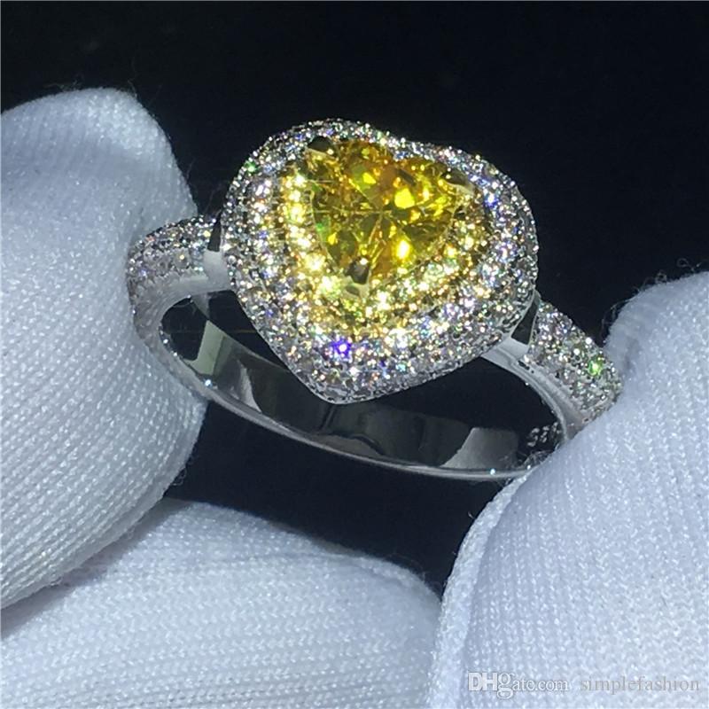 Vecalon 심장 모양의 연인 여성 남성 손가락 보석 925 스털링 실버 다이아몬드 Cz에 참여 웨딩 밴드 반지 반지