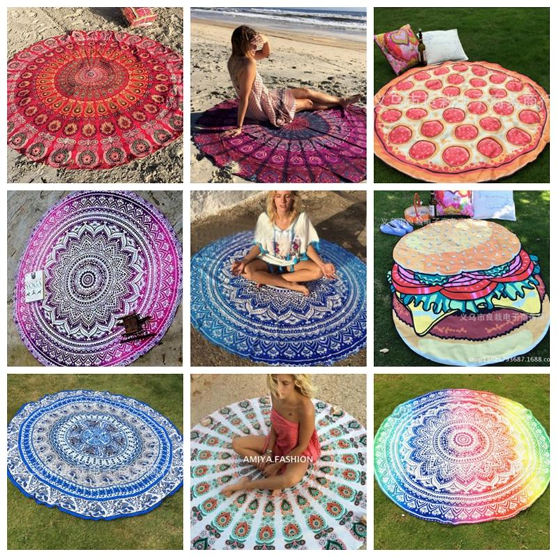 Beach Towel Indian Mandala Round Beach Towels Polyester Printed Tapestry Yoga Mat Summer Picnic Rug Serviette De Plage 39 Designs LQPYW452