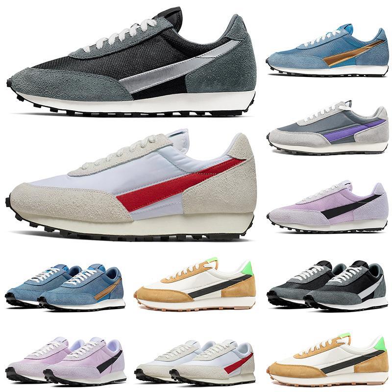 Tamaño de calidad superior 2020 Waffle DAYBREAK SP Zapatos Casual Hombres Mujeres zapatillas de oro metálico de plata gris azul diseñador zapatillas deportivas Deportes 36-45