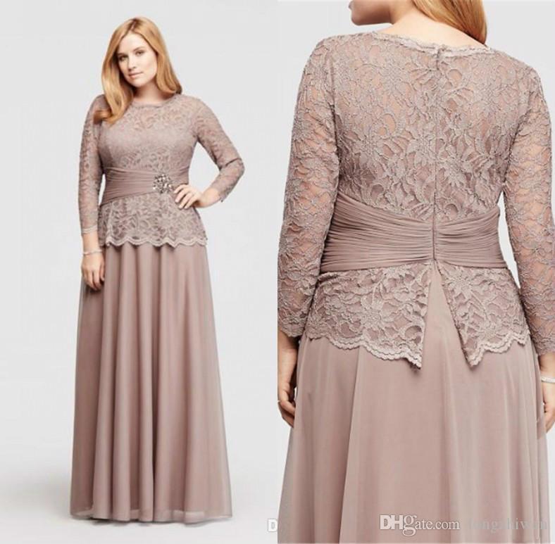 2020 A linha de vestidos de noite Jewel 3/4 manga comprida Lace Plus Size Prom Dress Longo Pavimento Length Vestidos para ocasiões especiais