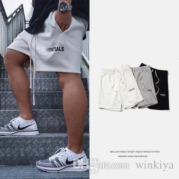 Mens High Street Elastic Waist Shorts Pants Women Hip Hop Essentials Print Fear Of God Pants Lovers Cutton Solid Color Casual Pants