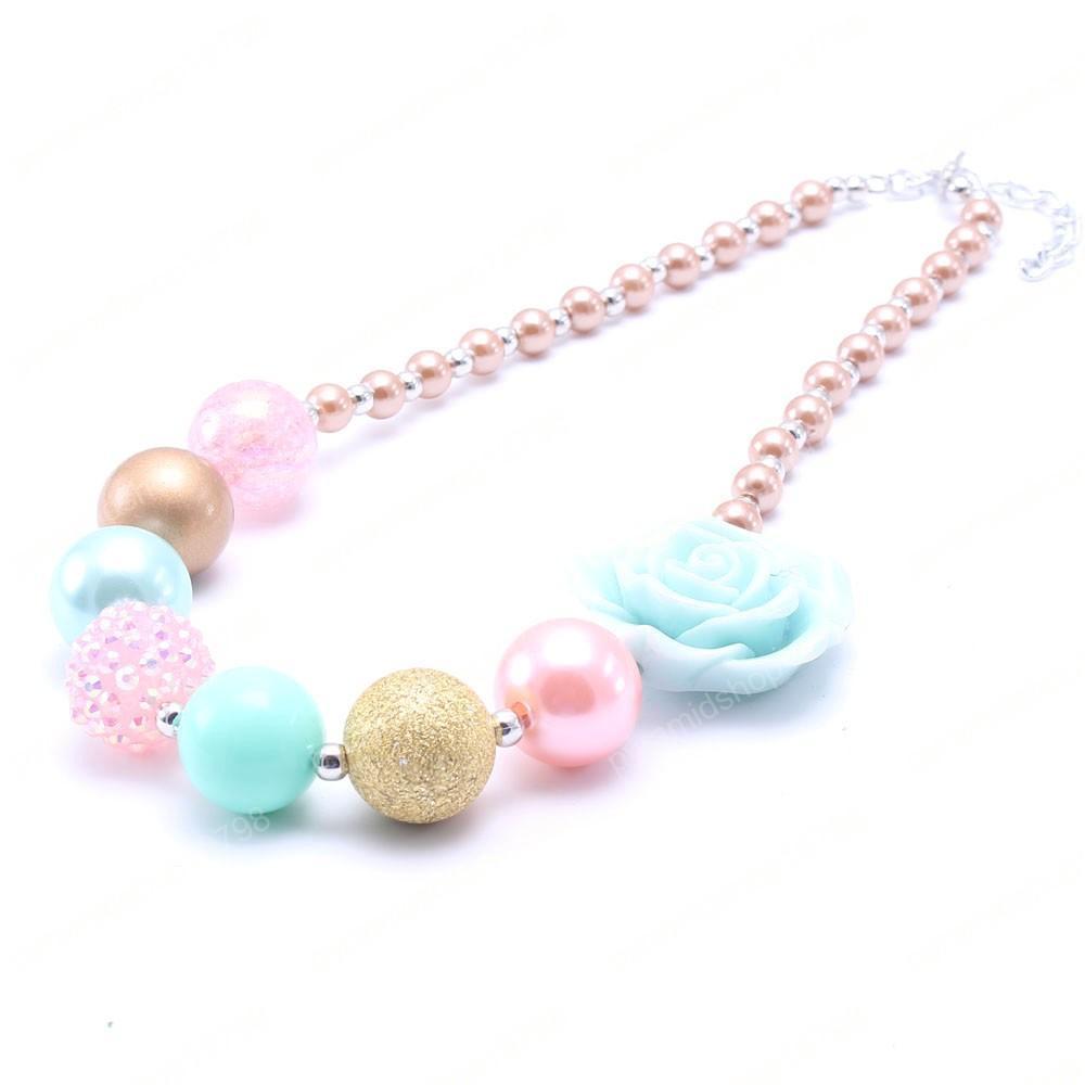Più nuovi monili Pink + Blu Colore Fiore Kid collana robusta Bubblegum Bead della ragazza della collana robusta bambino per bambino Bambini
