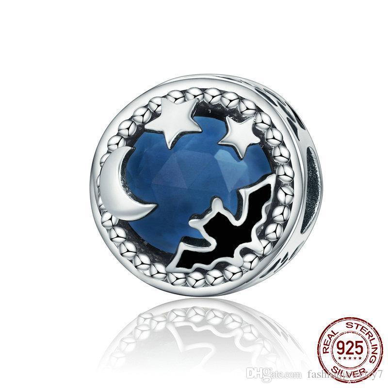 Chine de bonne qualité Argent 925 chauve-souris de minuit Moonlit étoile bleu cristal Breloques perles Bracelets Colliers Bijoux convient Pierre