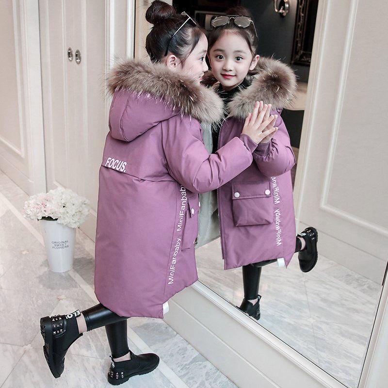 2019 Girl Vêtements Hiver Down Jacket Enfants Épaissement Épaissir Capuche Grande Fourrure Collier Parka Manteaux Outwear -30 degrés Girls Long Vêtements