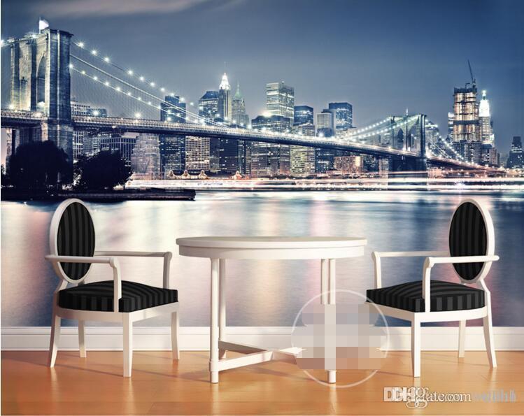 Fototapete kundenspezifisches Foto moderne Nachtlichter New York Bridge Wohnzimmer Hauptdekoration 3d Wand muals Tapeten für Wände 3 d
