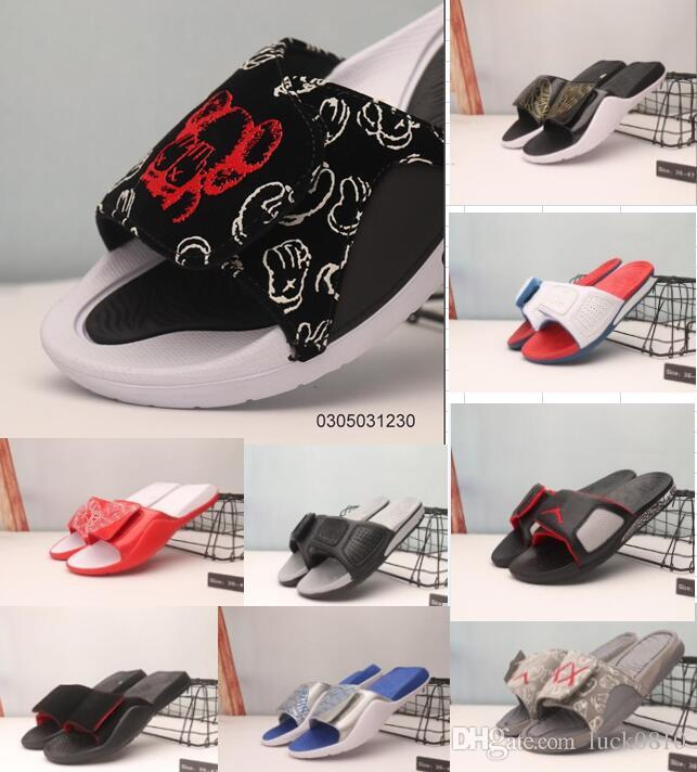 2019 Wholesale new 13 slippers 13s Blue black white red sandals Hydro Slides basketball shoes casual running sneakers size 36-45
