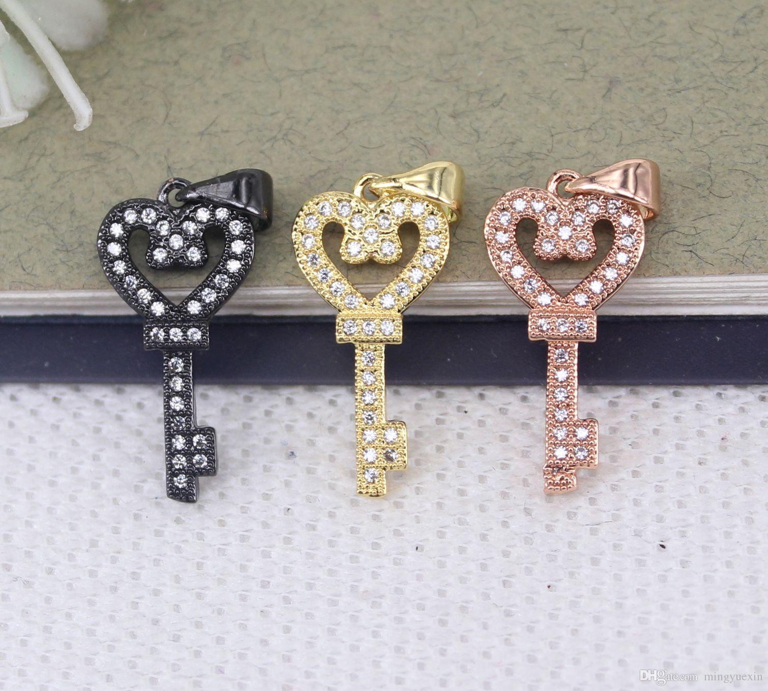 10pcs petite taille métal cuivre pavé micro blanc pendentif clé cz perles pour la fabrication de bijoux