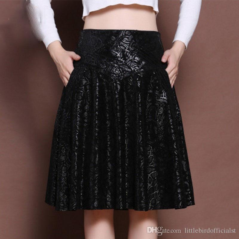 Cintura alta Saias De Couro De Pele De Carneiro Feminina Streetwear Slim Imprimir A-Line Na Altura Do Joelho Elegante Conforto