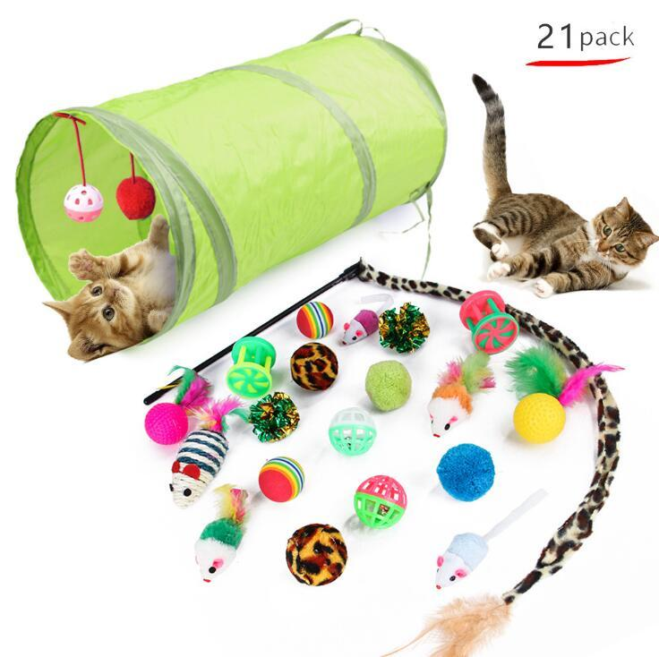 21pcs/set Cats Toy Cat Tunnels With Cat Teaser Indoor Foldable Cat Tent Drill Hole Game Pipe Pets Supplies Kitten Puppy Toys Gadget